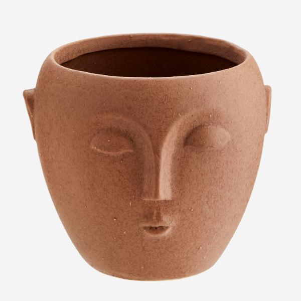Cache Pot Visage Terracotta