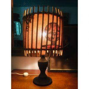 Lampe En Rotin Vintage motif africain